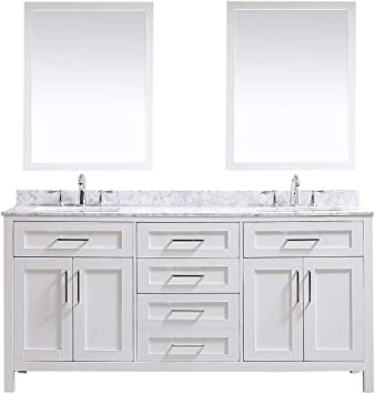 Ove Decors Maya 72 In White Double Vanity Sink With Carrara Marble Top And Mirrors 72 Inches Amazon Com