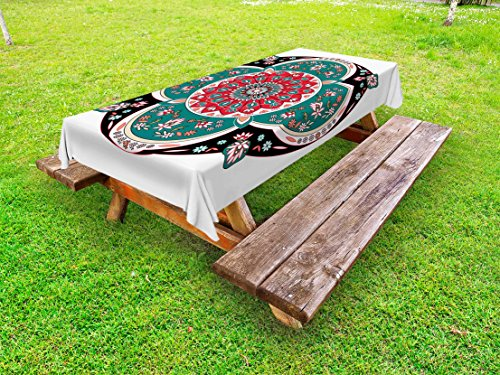 Ambesonne Arabian Outdoor Tablecloth, Oriental Ornate Embriodery Style Floral Ethnic Illustration of Old Eastern Artistic, Decorative Washable Picnic Table Cloth, 58 X 104 inches, Multicolor by Ambesonne