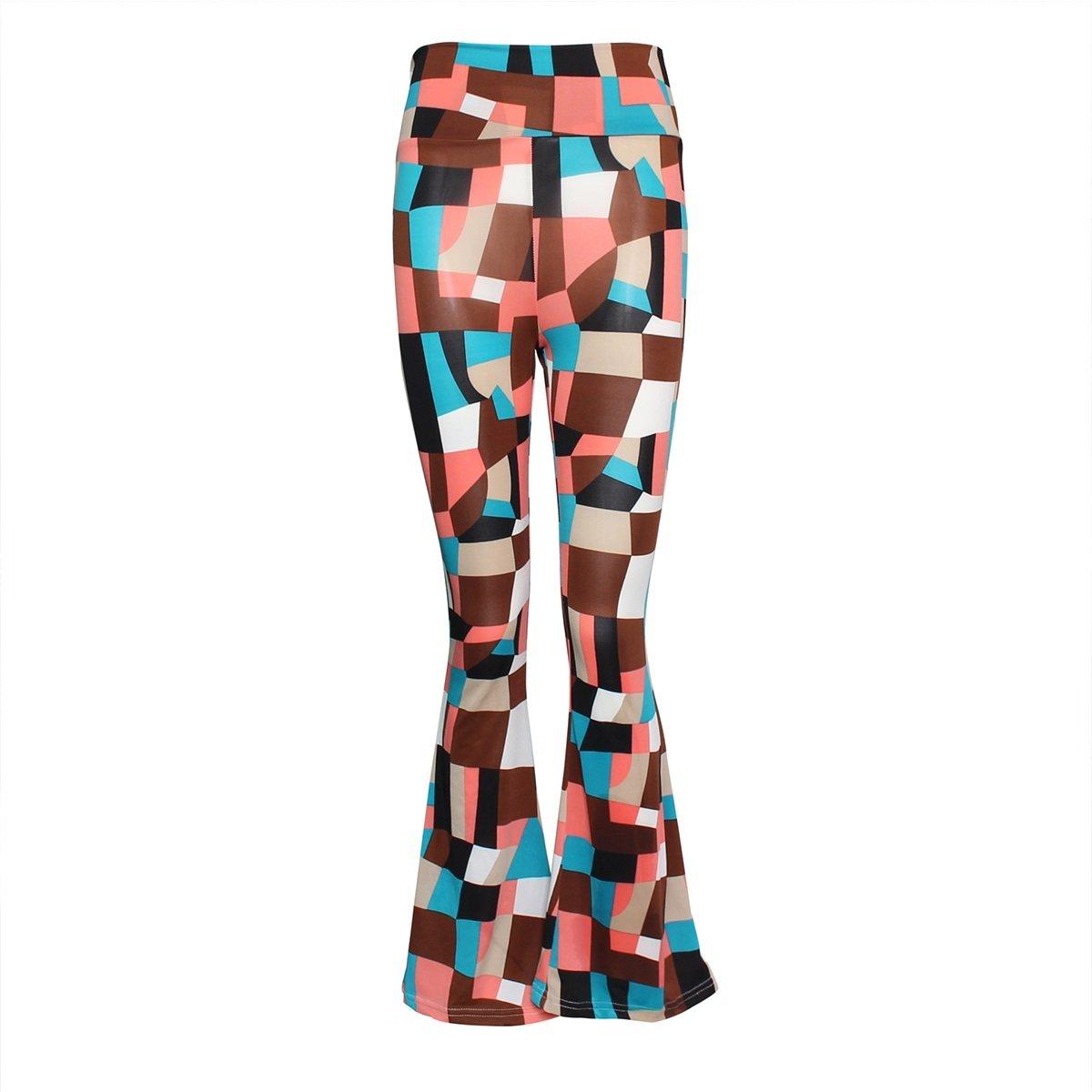 QHDZ Moda Pantalones de cintura alta Flare Pant Pantalones de mujer ancha Floral Palazzo Bell Bottom: Amazon.es: Ropa y accesorios