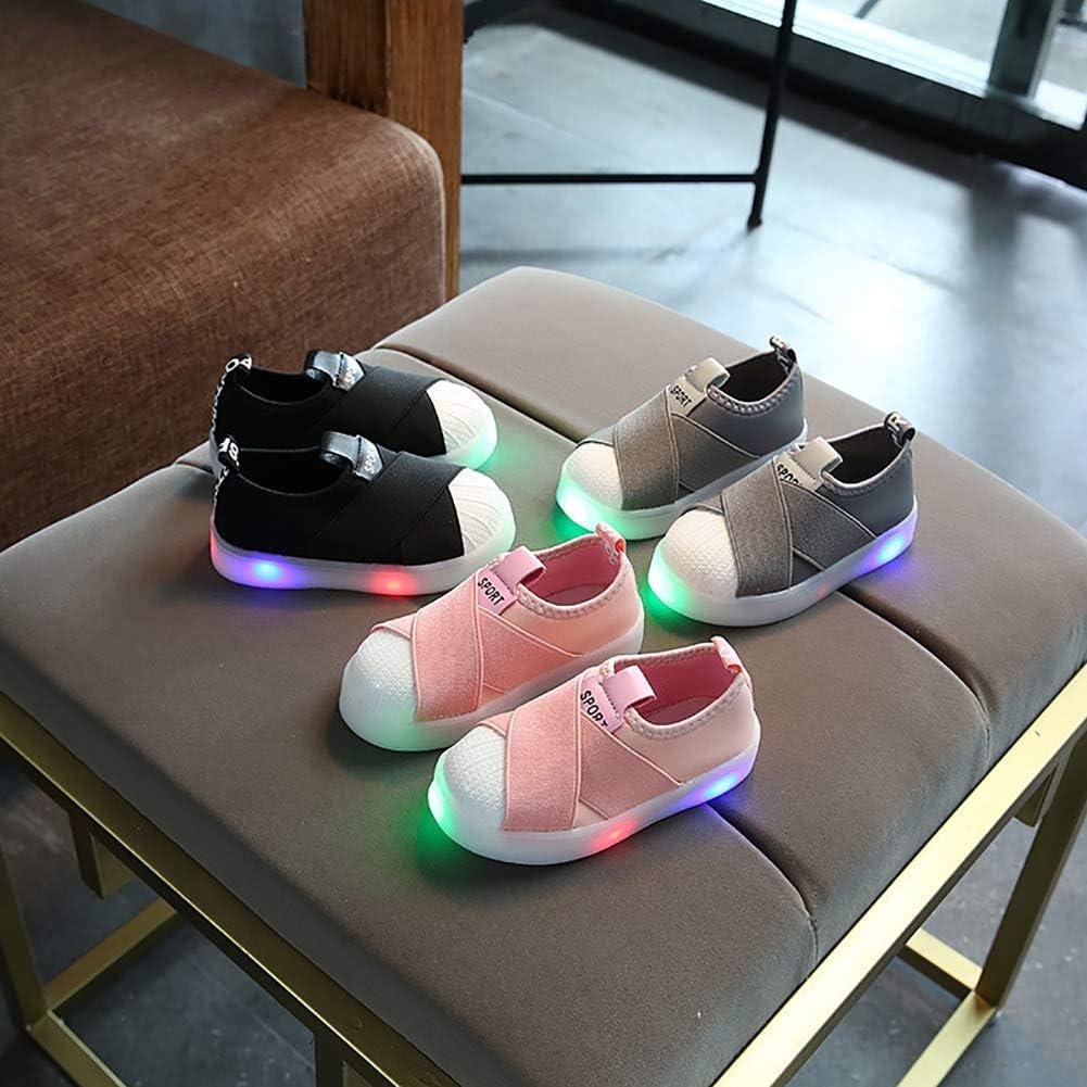 Alamana Fashion Lovely Kids Girls Boys LED Light Sneaker Sport Anti-Slip Casual Shoes Grey 25
