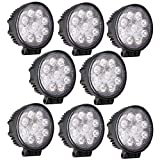 GZYF 8PCS 27W LED Work Light Lamp Bar Round Flood Beam Offroad For Truck Car Boat SUV 4WD UTE ATV 4X4 12V 24V