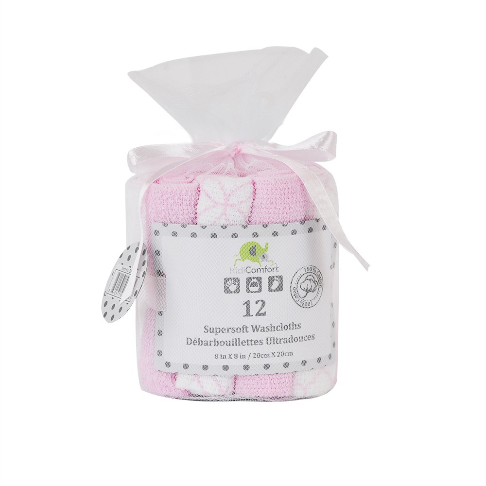 Kidiway BWC-102 Kidicomfort 12 Pack Washcloths - Pink