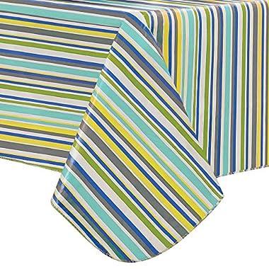 Nantucket Nouveau Stripe Indoor/Outdoor Flannel Backed Vinyl Tablecloth -52  x 70  Oblong