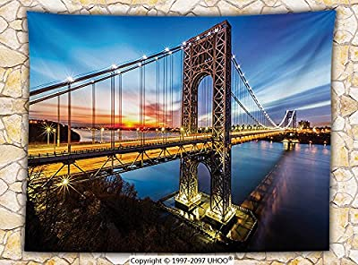 Apartment Decor Fleece Throw Blanket George Washington Bridge Connecting NJ to Manhattan NY Sunlights Clear Sky Throw