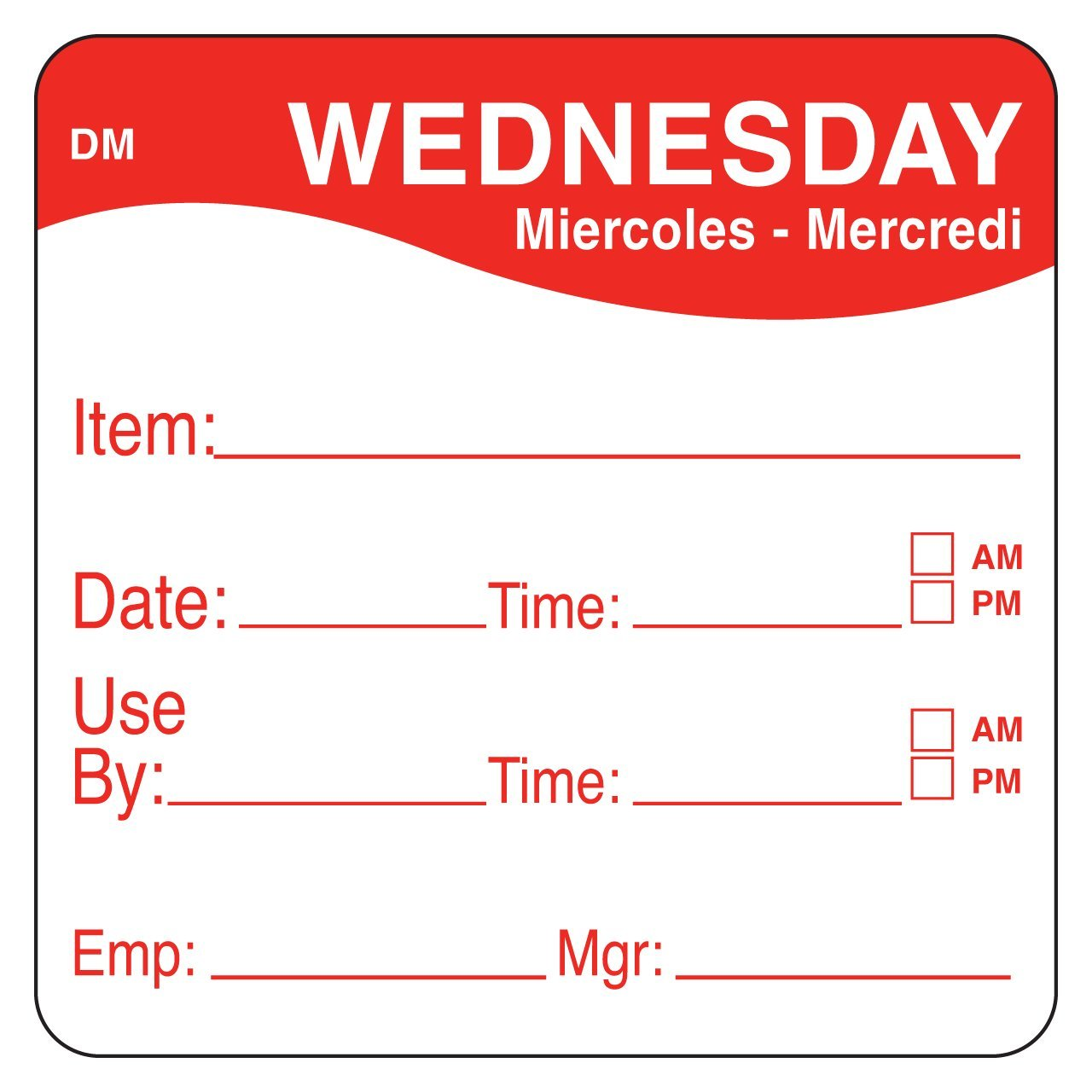 DayMark Safety Systems - IT110053-3-WED IT1100533 DayMark DissolveMark Day of the Week 2