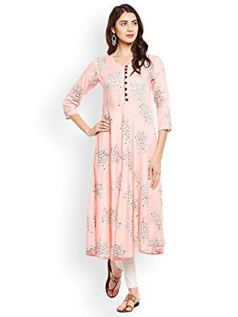 b89650991a774 Amazon.com  Hiral Designer mall Women Design Peach-Coloured Printed A-Line  Kurta Kurti for Women Tunic Top r 3 4 Sleeve Dress. …  Clothing