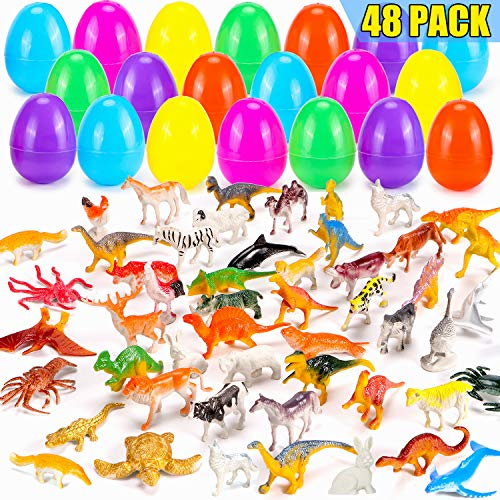 YEAHBEER 48 Pieces Easter Eggs Filled With Assorted Natural World Animal Figures, Easter Basket Stuffer, Easter Theme Party Favor