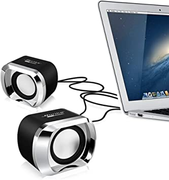 US USB Stereo Speaker For Laptop Desktop Computer MP3 Cell Music Player Black