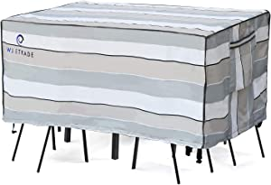 WJ eTrade Patio Furniture Covers, Waterproof UV Resistant for Medium Rectangular Outdoor Table and Chairs Dining Set, 108x78x32inch, Striped