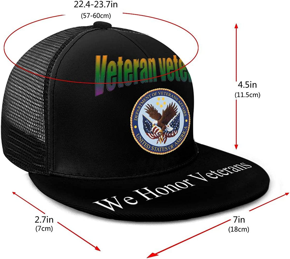 Veterans Affairs Logo Classic Grid Cap Flat Along Baseball Hats Snapback Unisex Hat Adjustable