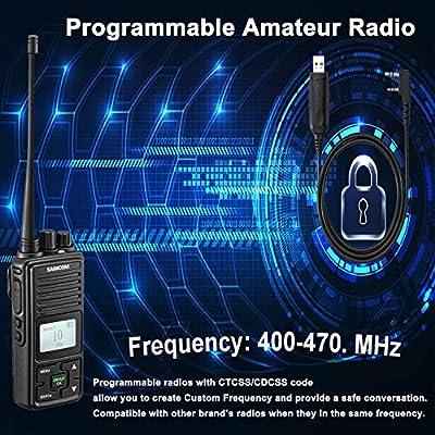 Two Way Radio, SAMCOM FPCN10A 2 Watts Programmable UHF Walkie Talkie Long Range,20 Channels Handheld Business Radio Double PTT LCD Display Earpiece, 16 Packs