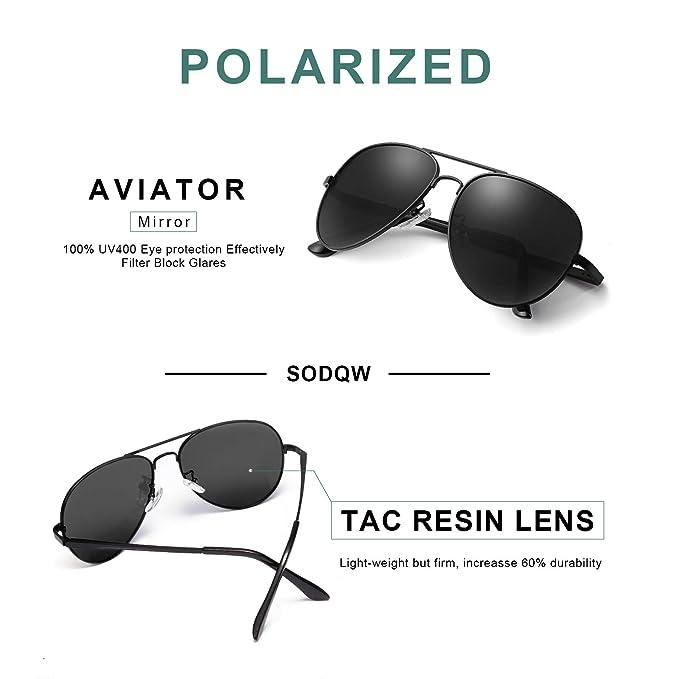 37d96a50417 Amazon.com  SODQW Aviator Sunglasses Mens Womens Polarized UV Protection  Driving Eyewear with Spring Hinges (Black Frame