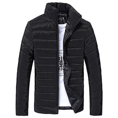 DoraMe Los hombres Cálido Abrigo Cuello alto Slim Zip chaqueta de invierno Outwear Jacket (Negro