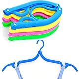Travel Outdoor Camping Home Portable Folding Plastic Clothing Coat Hangers (10 Pcs/Set) (Pack of 10)