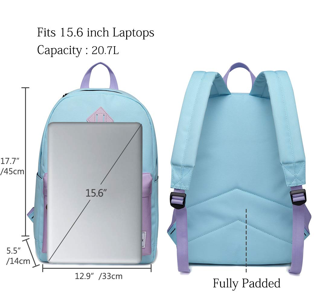 Backpack for Teen Girls, Vaschy Classic Water Resistant School College Bookbag Casual Daypack Travel Rucksack with Bottle Pockets Fits 15Inch Laptop (Sky Blue Purple) by VASCHY (Image #3)