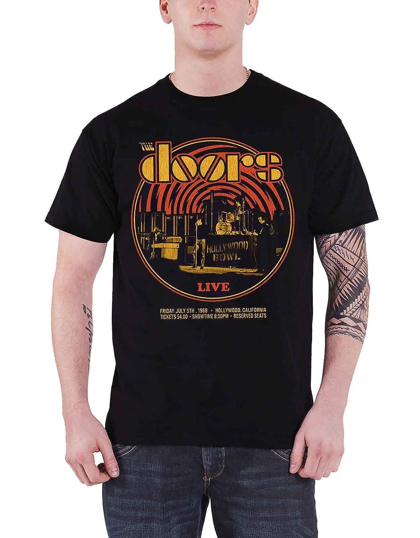 The Doors T Shirt Hollywood Bowl 68 Retro Circle Band Logo Official Mens Black