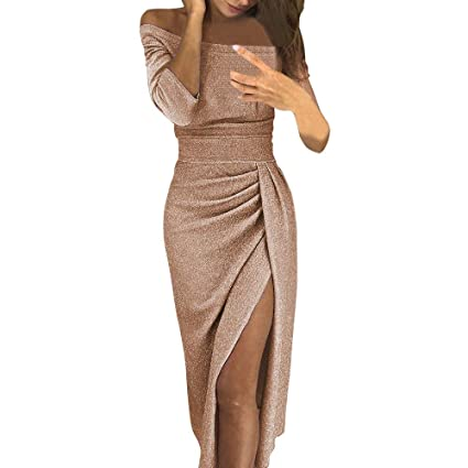 3e35a1259f07 Image Unavailable. Image not available for. Color  Womens Off Shoulder Long  Sleeve Midi Slit Dress ...
