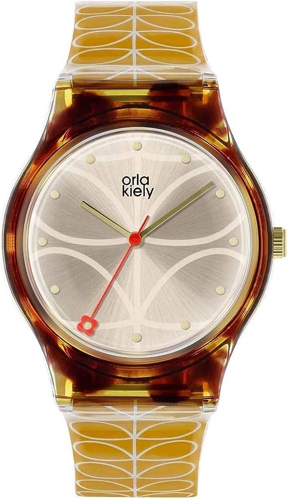 Orla Kiely Reloj Analógico para Unisex Adultos de Cuarzo con Correa en Cuero OK2222