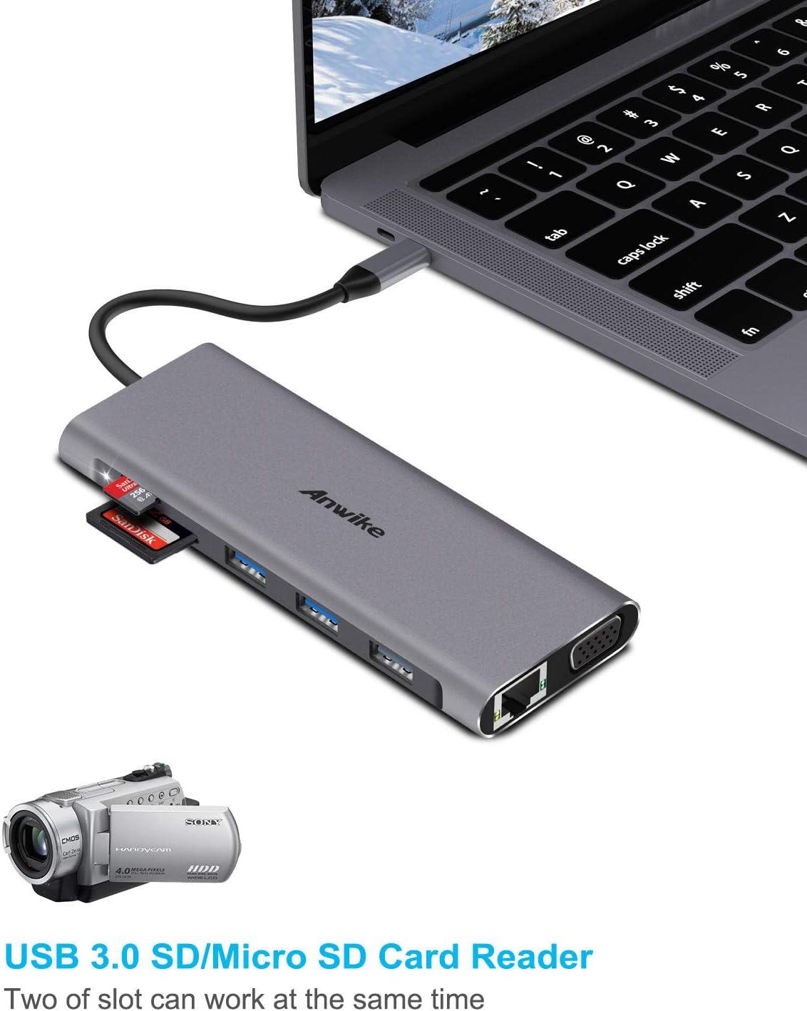Gigabit Ethernet Docking 12 in 1 Type C Hub Triple Display Adapter for Thunderbolt3 USB C Devices 2HDMI 4K Audio VGA 4USB Ports,SD//TF Card Reader USB C HUB,ANWIKE USB C Laptop Docking Station