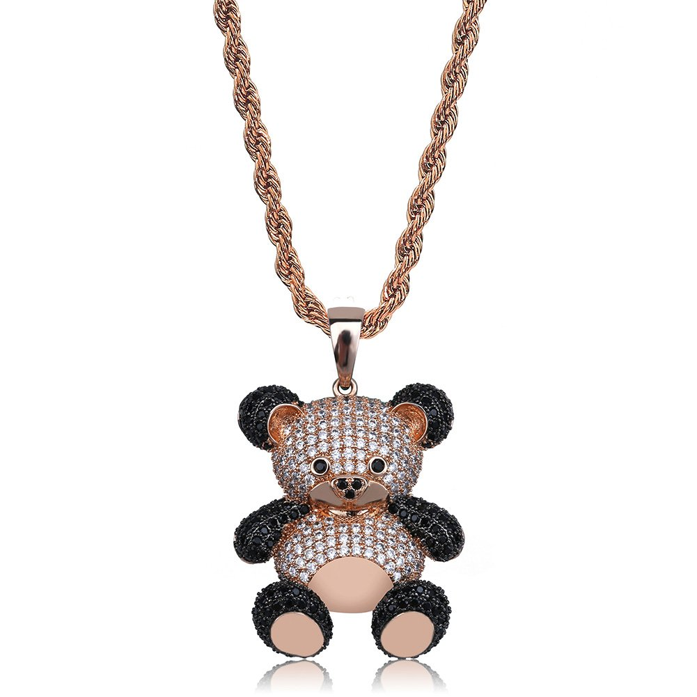 U 14K Gold Silver Plated Iced out CZ Simulated Diamond Zirconia Teddy Bear  Pendant Necklace Men Women Fashion Jewelry Gifts (Rose Gold)  Jewelry e70271f38215