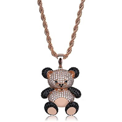 6b928cac9a9202 U 14K Gold Silver Plated Iced out CZ Simulated Diamond Zirconia Teddy Bear  Pendant