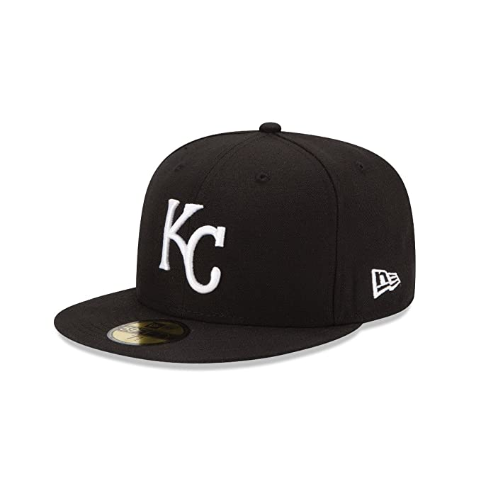 new style 3d8db 132b4 NEW ERA Men s 59fifty HAT Kansas City Royals MLB Basic Black White Fitted  CAP (6