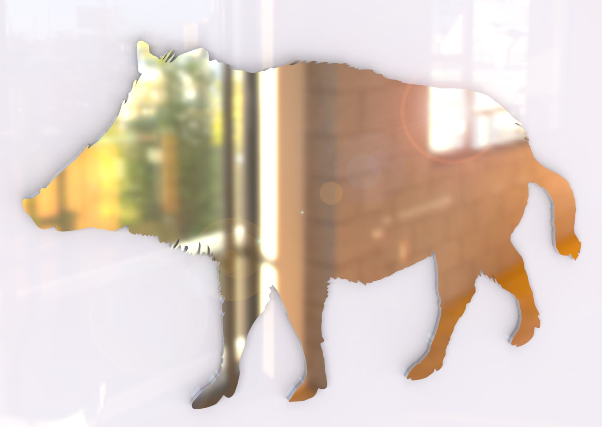 Boar Pig Mirror - Available in various sizes, including sets for crafting kits - 35cm x 21cm