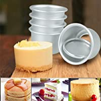 FEESHOW 5Pcs 2 Inch Aluminum Round Cheesecake Pan Chiffon Cake Mold Baking Mould with Detachable Bottom