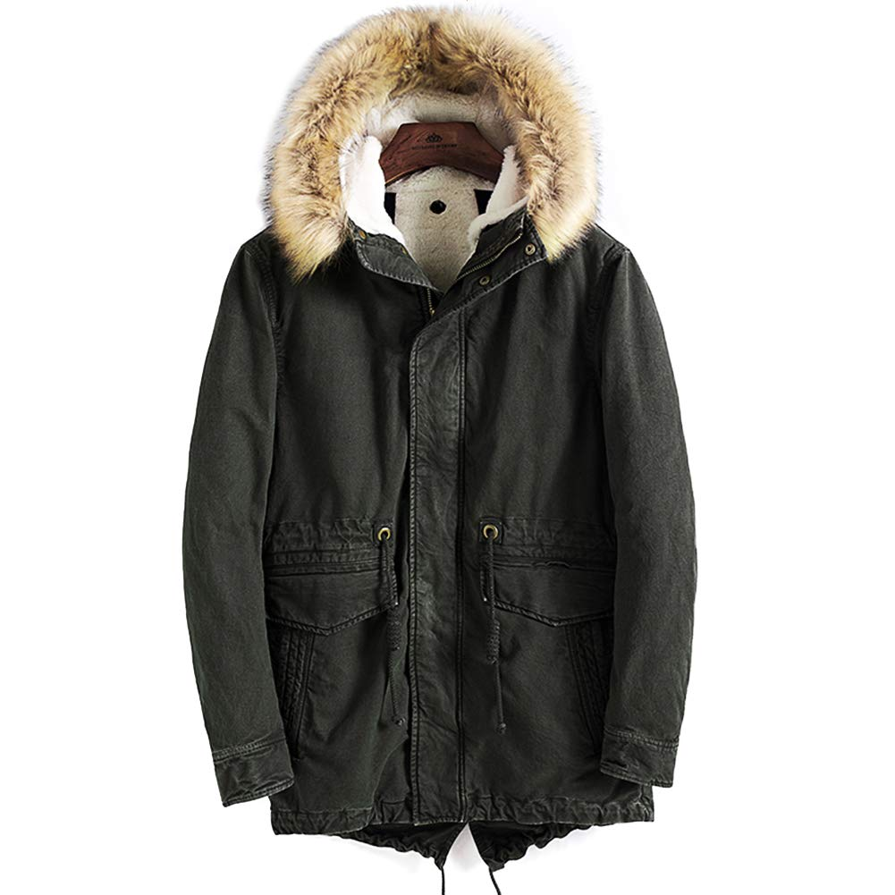 FLY HAWK Mens Hooded Puffer Down Jacket Zippered Mid Length Outerwear with Detachable Faux Fur Collar