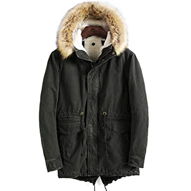 dfd5aaa98a1 Warm Arctic Cloth Anorak Coat Removable Faux Fur-Trimmed Hood for Winter  Fall Army Green