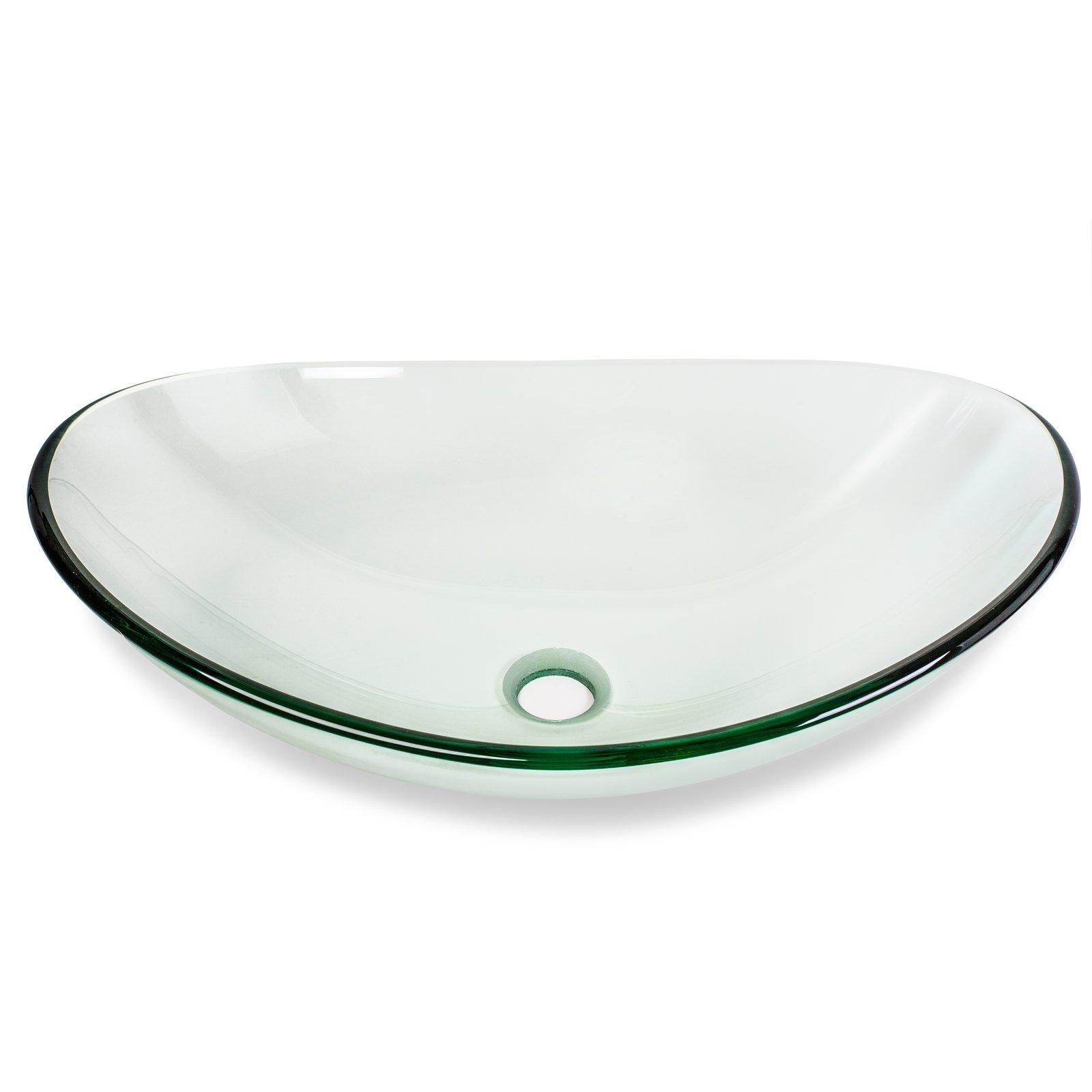 Miligoré Modern Glass Vessel Sink - Above Counter Bathroom Vanity Basin Bowl - Oval Boat Clear