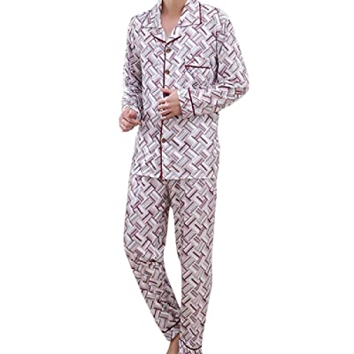 Abetteric Men 2Pcs Stitching Plus Size Cotton Plaid Casual Pajama Sleep Set