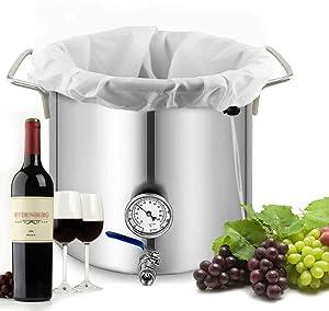 "Large Brew Bags Reusable - Samshow 2 Pack 250 Micron Fine Mesh Bag for Fruit Cider Apple Grape Wine Press Drawstring Straining Brew in a Bag (2 pack-22""×26"")"
