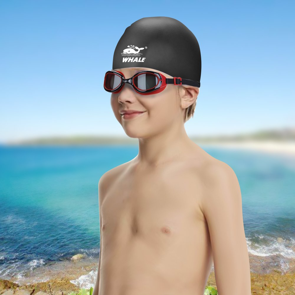 Whale Kids Swim Goggles Set with Anti Fog UV Protection Adjustable Swimming Goggles Swim Cap and Ear Plugs Nose Clip Triathlon Equipment for Youth Kids Boys Girls (Black)