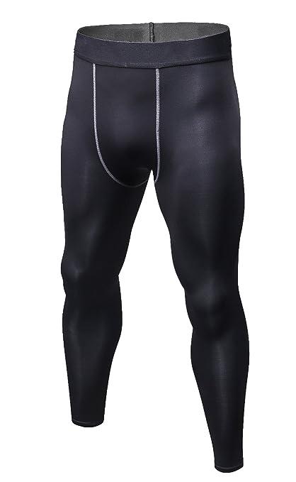 b2b31b84ff35d Yuerlian Men Compression Workout Pants Base Layer Long Running Pants  Cycling Football Basketball Skin Tights Black