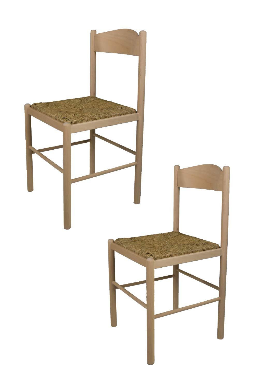 Tommychairs sedie di design - Set 2 sedie stile classico PISA 38 per cucina, bar e sala da pranzo, con struttura in legno di faggio levigato, non trattato, 100% naturale e seduta in paglia STOCKLINE