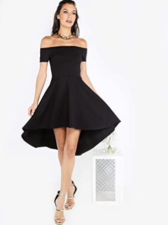 7b8dbccb073a6a INFASHION Women s Black Party Bardot Dip Hem Skater Dress with Off The  Shoulder Short Sleeve Flared