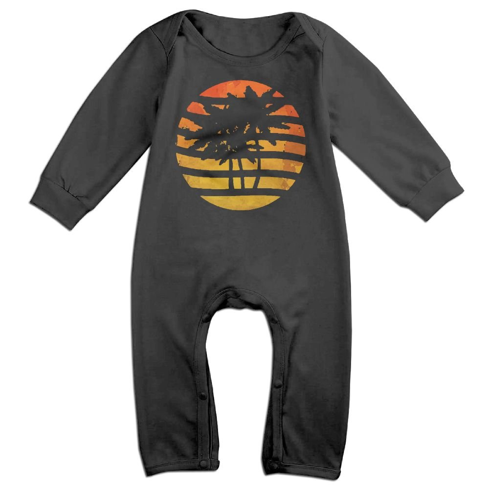 Mrei-leo Newborn Kids Long Sleeved Coveralls Palm Trees and Sunset Toddler Jumpsuit