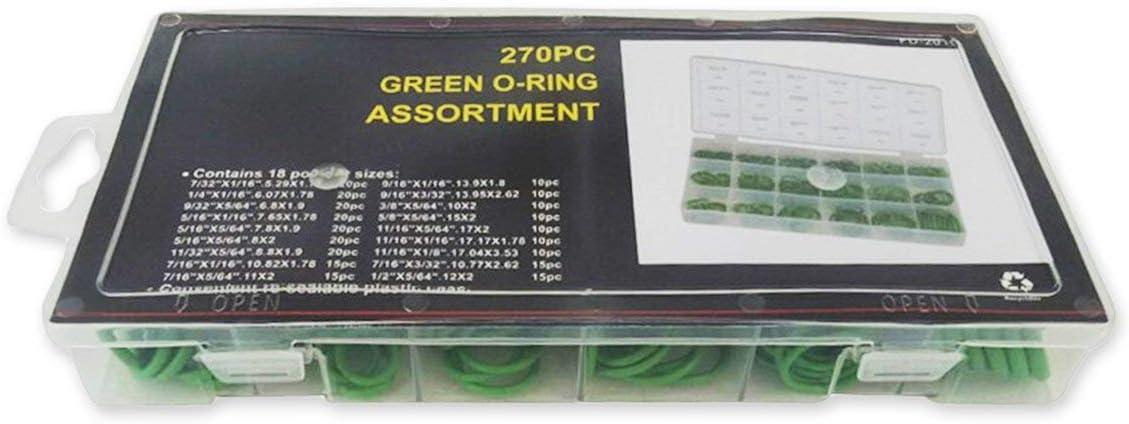 Guarnizioni verdi resistenti allusura della guarnizione di olio del giunto circolare di gomma di 270PCS per la valvola del cilindro dellaria Conduttore del trasportatore della conduttura chimica dellautomobile
