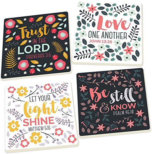 - Floral Scripture Trust in the Lord 4 Piece Square Ceramic Coaster Set