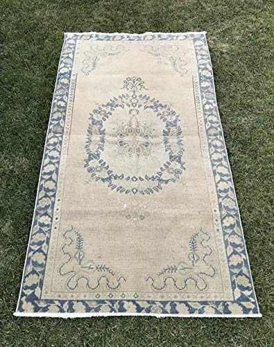 Antique Oushak Rug - Hand Woven Vintage Muted Oushak Rug, Distressed Turkish Carpet, Low Pile Muted Oushak Runner, Antique Oushak Rug 3'3