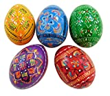 Set of 5 Ukrainian Wooden Pysanky Easter Eggs Hand Painted in the Ukraine