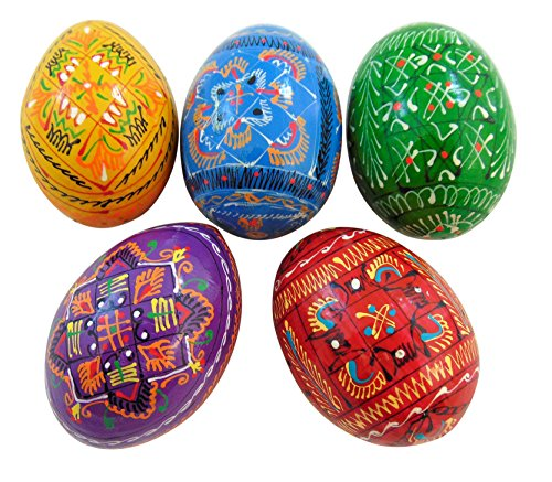 (Alexandra Set of 5 Ukrainian Wooden Pysanky Easter Eggs Hand Painted in The)