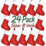"LimBrige Christmas Mini Stockings, 24 Pack 8"" Glitter Star Print with Plush Cuff, Classic Stocking Decorations for Whole Family, Red"