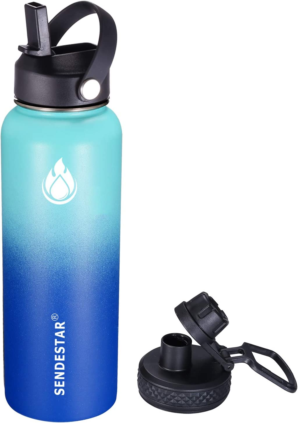 Sendestar Stainless Steel Water Bottle - 24oz, 32oz, 40oz, with New Straw Lid and Spout Lid, Keeps Liquids Hot or Cold with Double Wall Vacuum Insulated Sweat Proof Sport Design
