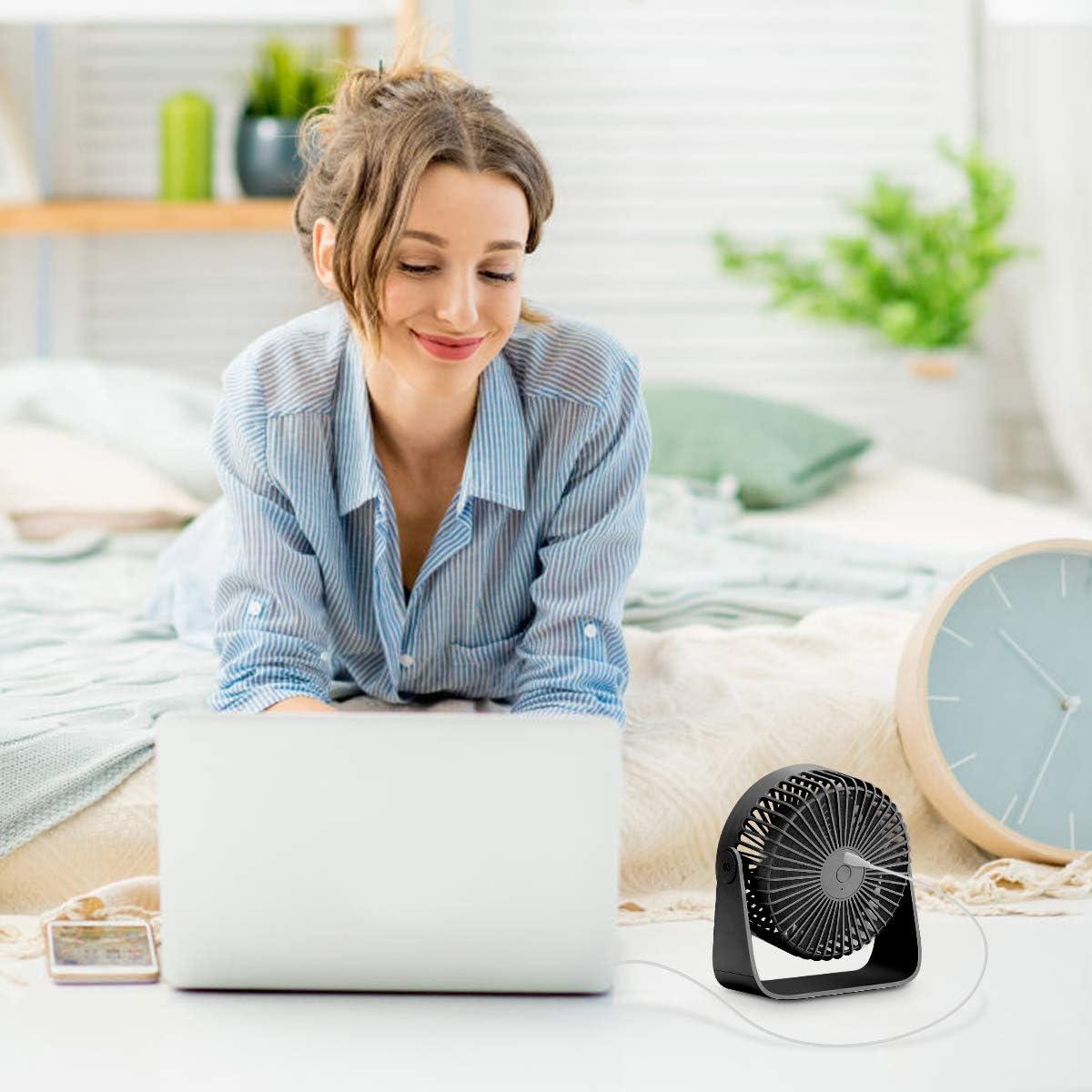 Ventilador USB de Escritorio Ventilador USB 3 Ajustable para Oficina Viaje(Negro) Hogar Ventilador 360 /° Rotaci/ón,Ventilador de Mesa Silencioso Mini Ventiladores de Sobremesa