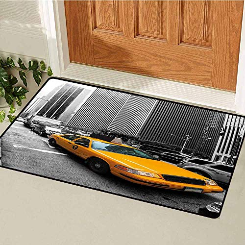Gloria Johnson City Welcome Door mat Yellow Cab in New York City Touristic Attractions Traffic Road Photography Door mat is odorless and Durable W29.5 x L39.4 Inch Marigold Grey Black