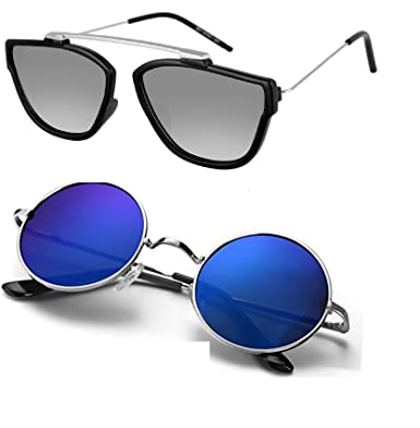 849fd3588e Ivonne new Collection Men s Sunglasses Silver   Blue pack 2  Amazon.in   Clothing   Accessories