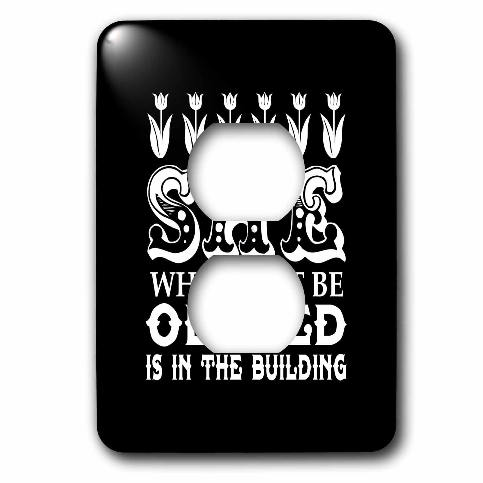 3dRose Russ Billington Designs - She Who Must Be Obeyed- Strong Woman Design in White on Black - Light Switch Covers - 2 plug outlet cover (lsp_262292_6)