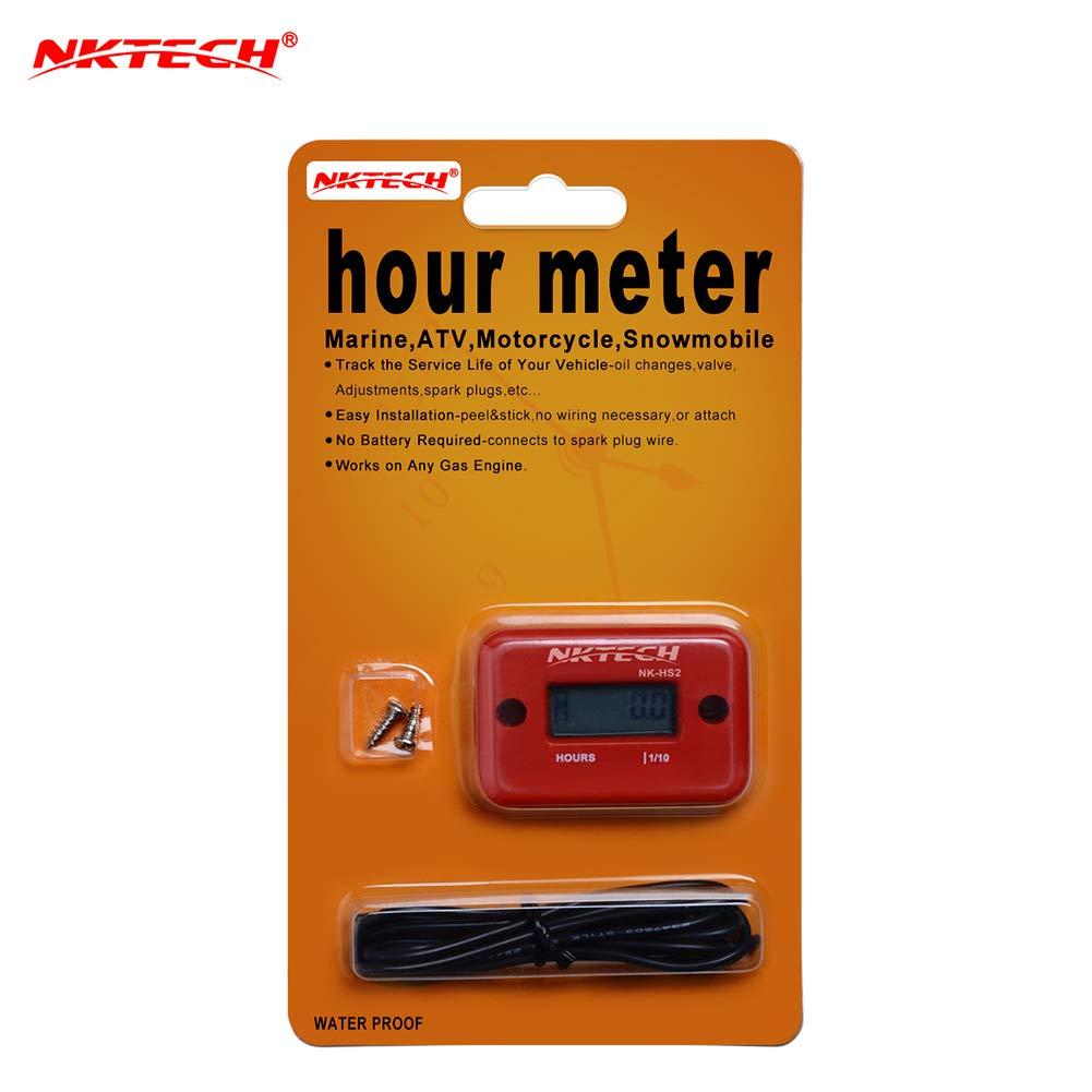 Red NKTECH NK-HS2 Inductive Hour Meter for Gas Engine Marine ATV Motorcycle Boat Snowmobile Dirt Ski Generator Waterproof Stroke Tachometer